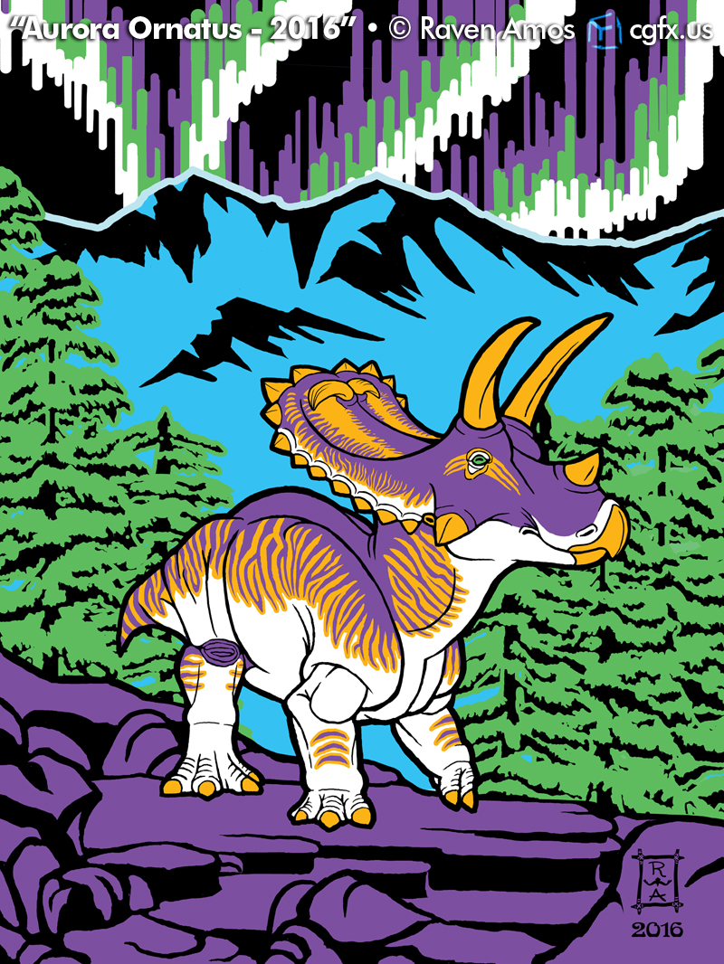 A lone, lost Anchiceratops ornatus navigates through the mountains of Cretaceous Canada under the light of the northern lights (aurora borealis).
