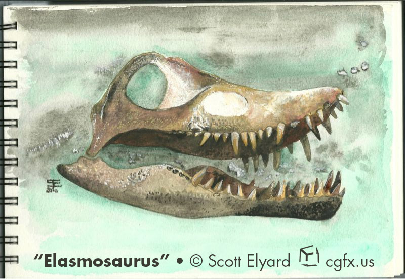 Elasmosaurus watercolor