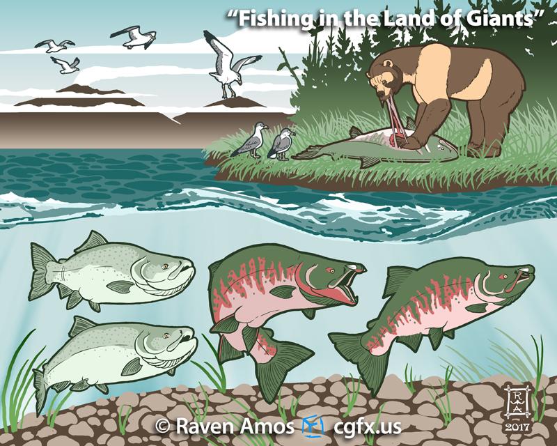 Scene depicting Pleistocene California with Oncorhynchus rastrosus, Arctodus simus, and Larus californicus.