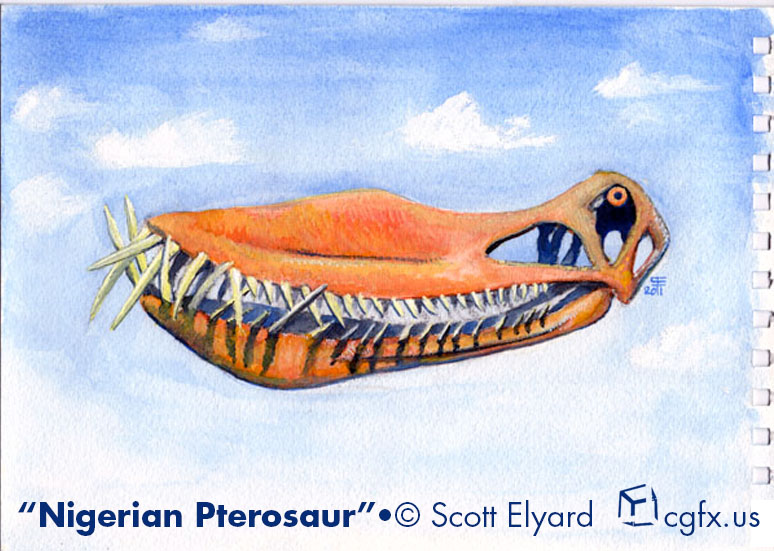 Watercolor of a Nigerian Pterosaur