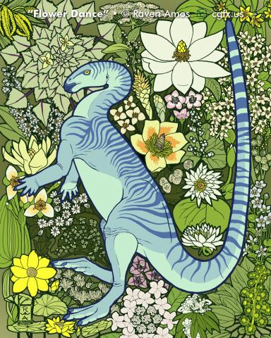Parksosaurus dances in front of a field of flowering Cretaceous era plants
