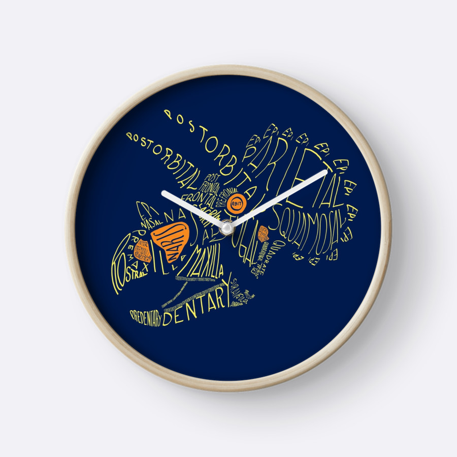 Triceratops calligram clock.