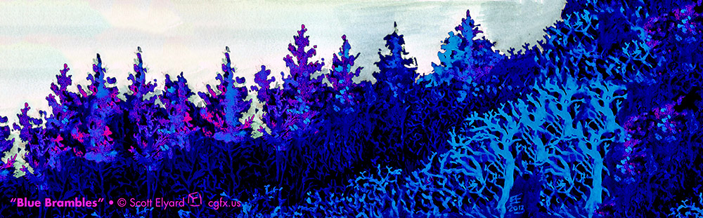 """Blue Brambles"" post-processed watercolors"